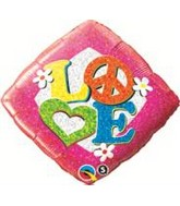 "18"" Love Peace Sign Mylar Balloon"