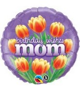 "18"" Birthday Wishes Mom Tulips Mylar Balloon"