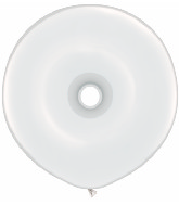 "16"" Geo Donut Latex Balloons (25 Count) White"
