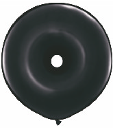 "16"" Geo Donut Latex Balloons (25 Count) Onxy Black"
