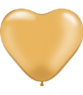 "6"" Heart Latex Balloons (100 Count) Gold"