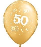 "11"" Number 50 Fifty Metallic Gold 50 per bag"