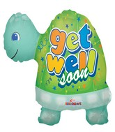 "24"" Get Well Soon Turtle Shape Mylar Balloon"