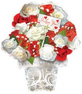 "22"" I Love You Red & White Roses Bouquet"