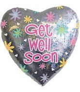 "32"" Get Well Soon Holographic Balloon"