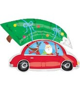 "31"" Santa with Tree on Car Shape"