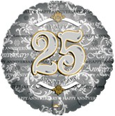 "18"" Silver Anniversary 25th Mylar Balloon"