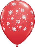 "11"" Qualatex Snowflakes Red (50 Count)"